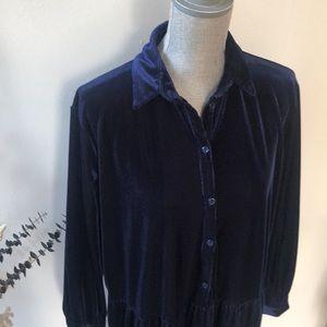 Zara Velvet Corduroy Midi Dress